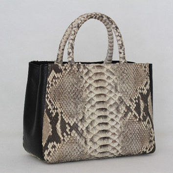 Myrtle Genuine Exotic Python Leather Handbag in Large scale Natural pattern and black leather
