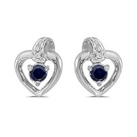 10K White Gold Round Sapphire and Diamond Heart Shaped Earrings