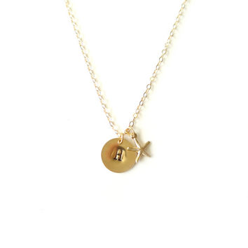 Gold Hand Stamped Jewelry, Personalized Necklace, Personalized Gift, Gold Starfish Necklace, Initial Necklace, Initial Charm, Gold Charm
