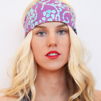 Wide Geometric Aztec Tribal Batik Print Boho Stretch Headband Hairwrap