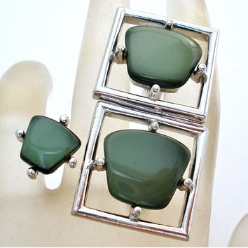 Men's Green Cufflinks &Tie Tack Sarah Coventry