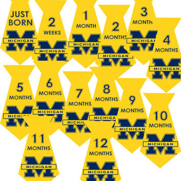 INSTANT DOWNLOAD-14 University of Michigan Tie Iron On Stickers Sports Baby Boy Monthly Milestone Onesuit Newborn Shower Gift