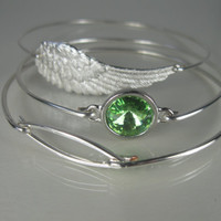 Silver Angel Wing And Emerald crystal minimalist bangle bracelet set - Silver- Green- Swarovski - Angel Wing Jewelry - Jewelry -Bangles