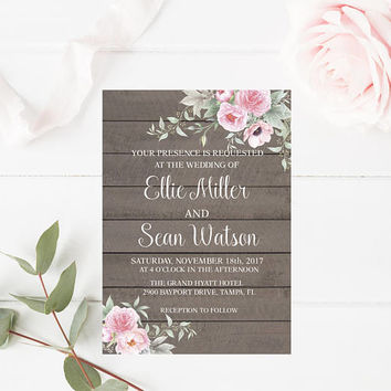 Rustic Shabby Chic Wedding Invitation, Floral Wedding Invitation, Floral Wedding Invitation, Printable Wedding Invitation, Instant Download