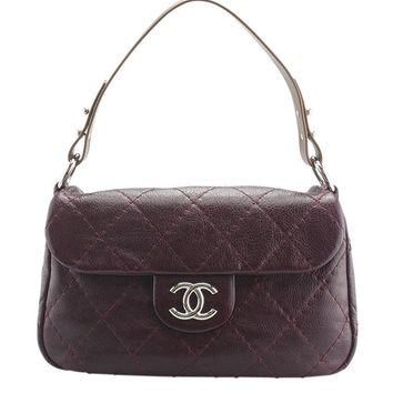 Chanel A48015 On The Road Burgundy Quilted Leather Shoulder Bag