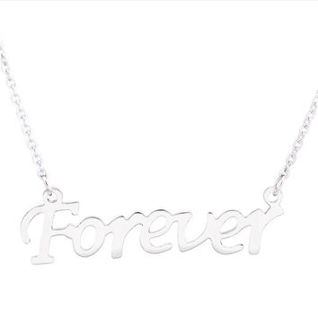 Fashion Stainless Steel Letters Pendant Necklace Chain Charms Jewelry for Men and Women