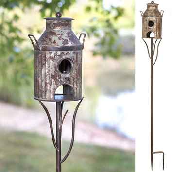 Decorative Distressed  Rustic Country Metal Milkcan Tall Garden Stake Birdhouse/Feeder