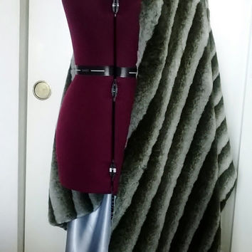 Extra Wide-Ultra Glamorous Faux Fur Stole/ Cape/ Wrap