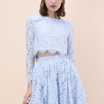 Daydreamer Whole Lace Top and Skater Skirt Set in Blue