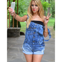 Not Your Boyfriend's Denim Short Overalls