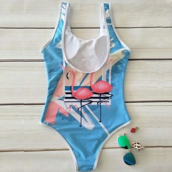 Flamingo Duo - Women's Sexy Sporty One-Piece Swimsuit - Push Up, Backless