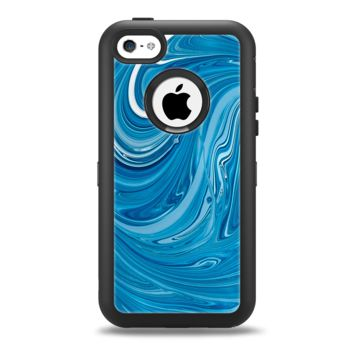 The Liquid Blue Color Fusion Apple iPhone 5c Otterbox Defender Case Skin