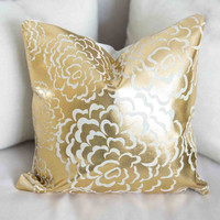 Gold Fleur Pillow Cover