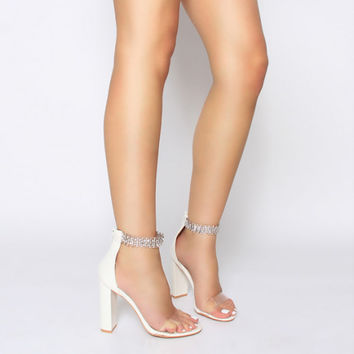 Zoey White Clear Diamante Block Heels : Simmi Shoes