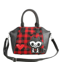 Loungefly Skelanimals Jae Red Plaid Satchel Bag