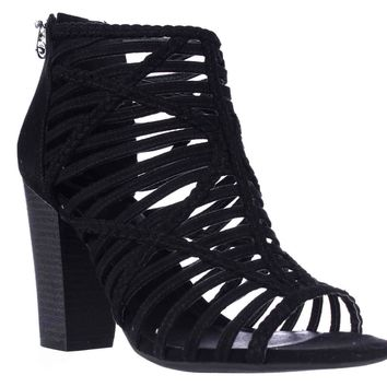 G by GUESS Jelus Strappy Block Heel Sandals, Black, 8.5 US