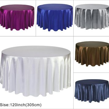 BITFLY 50 Pack 300cm round Satin Tablecloth White Color Table Cover Wedding Banquet