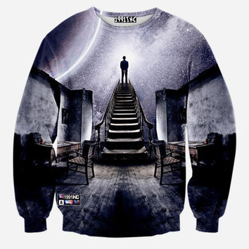 Stairway to Heaven Space Galaxy Crew Neck Sweatshirt Men & Women Harajuku Style Art All Over Print Sweater
