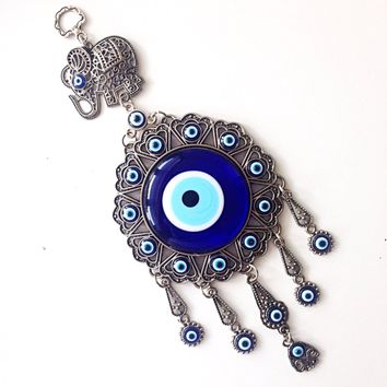 Evil eye wall hanging - evil eye charm elephant - Turkish evil eye - evil eye décor - nazar boncuk