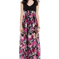 Black and Floral Print Dress Maxi Dress
