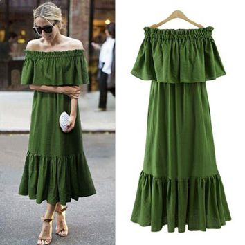 Ordifree Women Ruffle Long Maxi Dress Summer Sundress Swing Party Dresses Sexy Off Shoulder Stretch Loose Vintage Dress