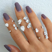 Sterling silver diamond zirconia floating statement rings