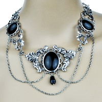 Gothic Victorian Choker w/ Black Cabochons Necklace