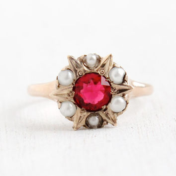 Antique 9K Rose Gold Red Glass & Seed Pearl Star Cluster Ring- Vintage Size 7 Late 1800s Ruby Red Jewelry