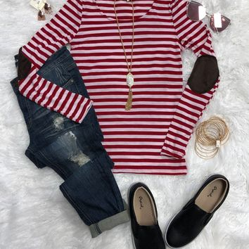 Caroling Striped Elbow Patch Top