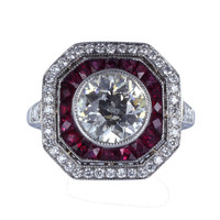 Art Deco 1.50 Carat Old European Cut Diamond & Ruby Cluster Ring