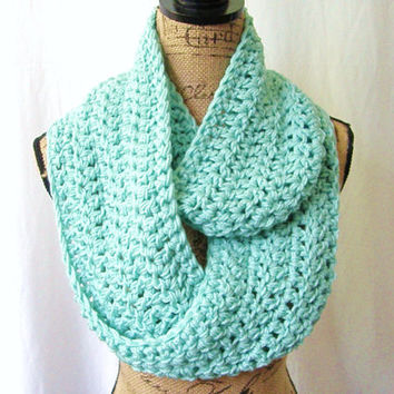 Ready To Ship Ocean Mint Cowl Scarf Fall Winter Women's Accessory Infinity
