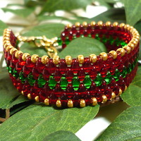 Red Green and Gold Holiday Beadwoven Superduo Cuff Handmade Bracelet