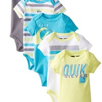 Quiksilver Baby-Boys Newborn 5 Pack Aqua Yellow Gray Bodysuit, Multi, 0-3 Months