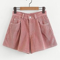 Solid Corduroy Wide Shorts