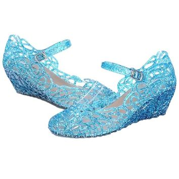 Eformarket Princess Girls Glitter Sandals Jelly Shoes (Little Kid/big Kid) (12 M Us Little Kid, Blue)
