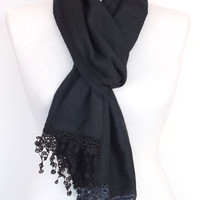 Stylish Black Cotton Scarf With Fringed Lace, Woman, For Gift, Spring Sale