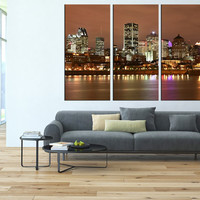 Montreal Skyline wall art Canvas Print, extra large wall art, canvas gallery art, Montreal wall art, Montreal night art print canvas t92
