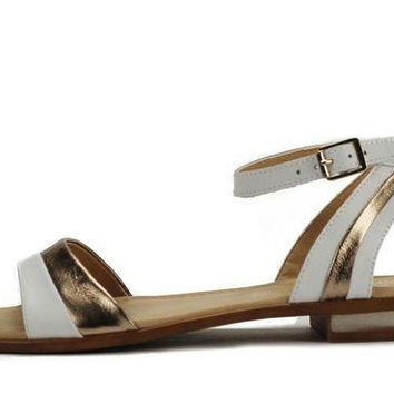ICIKLP2 Seychelles for Women: Wont Stop Whiskey White Gold Leather Sandal