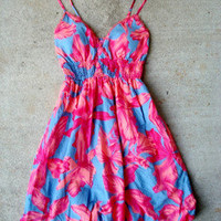 Blue S Pink Floral Rockabilly Bright Pinup Bubble Sun Summer Retro Lace Dress