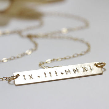 WEDDING DATE NECKLACE, Hand Stamped Gold Bar Necklace, Roman Numeral Necklace, Initial Bar Pendant, Name necklace, Horizontal Bar Monogram