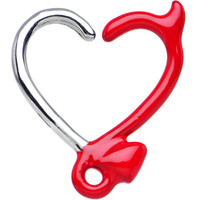 """16 Gauge 3/8"""" Red Devil Heart Closure Daith Cartilage Tragus Earring   Body Candy Body Jewelry"""