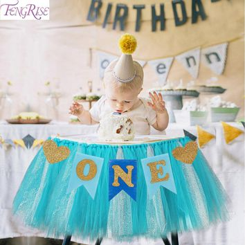 FENGRISE Baby First Birthday Blue Pink Chair Banner ONE Year 1st Birthday Party Decoration Boy Girl I AM ONE Bunting Supplies
