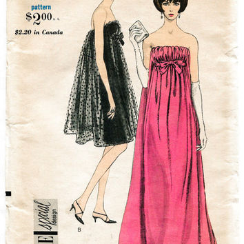 1960s UNCUT vintage sewing pattern Mad Men evening cocktail dress empire waist bows gathers bust 32 b32 Vogue 6943