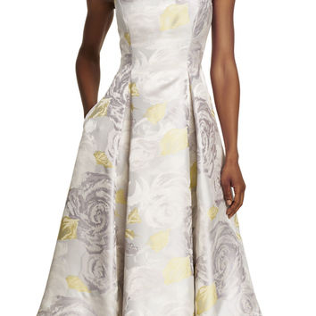 Sleeveless Boat Neck Floral Tea Length Dress - Adrianna Papell