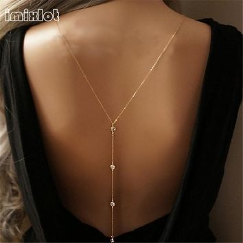 imixlot 2017 New Women Design Crystal Backdrop Necklace Gold Color Back Body Chain Jewelry Wedding Backless Dress Accessories