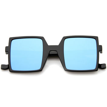 1950's Retro TV Block Flash Mirror Lens Square Sunglasses A290
