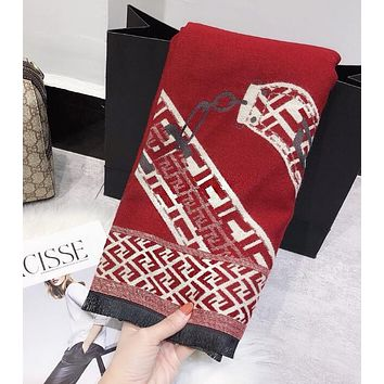FENDI Autumn Winter Newest Popular Woman Men Cashmere Cape Scarf Scarves Shawl Accessories Red/Beige I13898-1