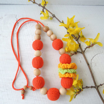 Orange Crochet nursing necklace Breastfeeding necklace Organic teething baby Toy Sensory Wooden beads Eco friendly jewelry Gift for new Mom