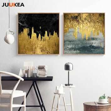 Square Abstract Color-blocking Modern Abstract Large Size Wall Art Canvas Print Painting Wall Picture for Living Room Decoration