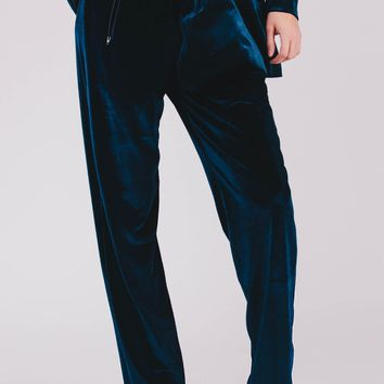Blue Velvet Straight Pants